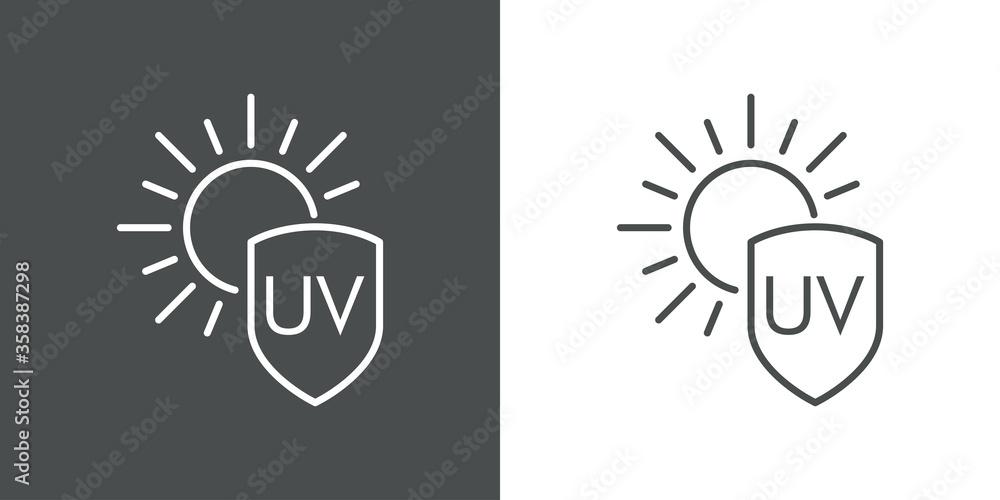 Fototapeta Concepto vacaciones de verano. Crema solar. Icono plano lineal palabra UV en escudo con sol en fondo gris y fondo blanco
