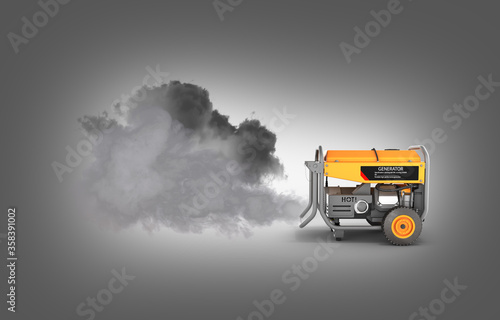 Photo Ecology concept Illustration of pollution by exhaust gases Portable gasoline gen