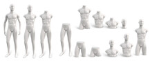 Set Of White Male Plastic Standing Naked Mannequin For Clothes Of Different Parts. Front View. Decor Showcases Fashion Store. Vector 3d Realistic Illustration Isolated On White Background