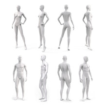 White Plastic Female And Male Mannequin For Clothes. Side, Front And Back View. Commercial Equipment For Shop Windows. 3d Illustration Isolated On A White Background.