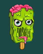 Vector Creative Graffiti Modern Illustration Cute Cartoon Object Angry Zombie Ice-cream. Fasion Print For T-shirt Stickers, Phone Case. Vector Illustration. EPS 10.