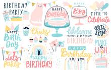 Happy Birthday Lettering Set. ...