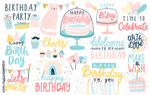 Happy Birthday lettering set. Hand drawn letterings and other elements - cakes, gifts, masks, candles, balloons.