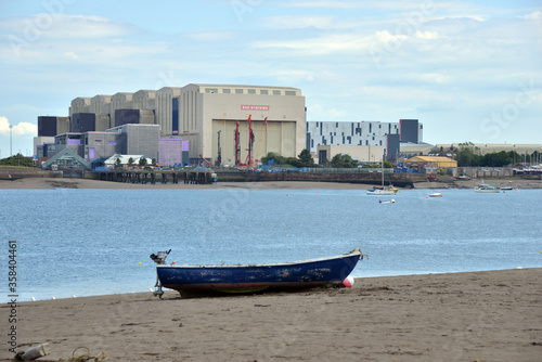Canvas Print Looking over the sea at BAE systems in Barrow in furness