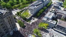 Aerial/Drone Photo Of Black Lives Matter Protest In Ottawa By The Chateau Laurier & American Embassy