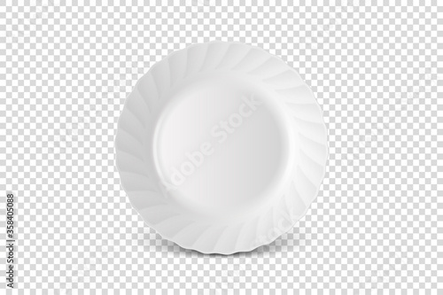 Fotografía Vector 3d Realistic White Porcelain, Plastic or Paper Disposable Food Dish Plate Icon Closeup Isolated