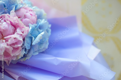 beautiful delicate bouquet of bright natural flowers