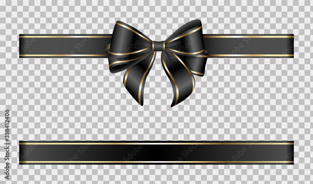 Fototapeta gold and black bow and ribbon