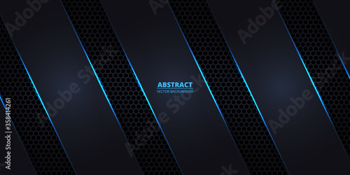 Photo Dark hexagonal carbon fiber background with blue luminous lines and highlights