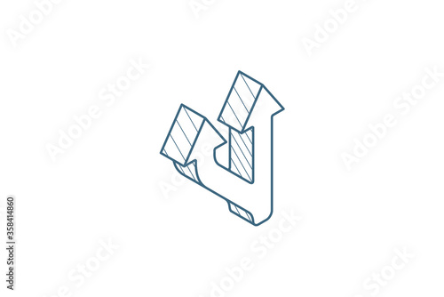 Vászonkép Junction, Separation, two ways isometric icon