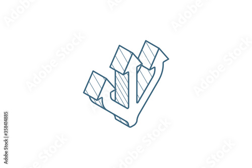 Fényképezés Junction Separation, three way isometric icon