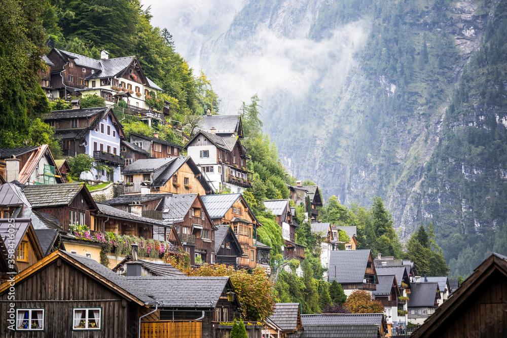 vintage fairytale houses in austrian mountains
