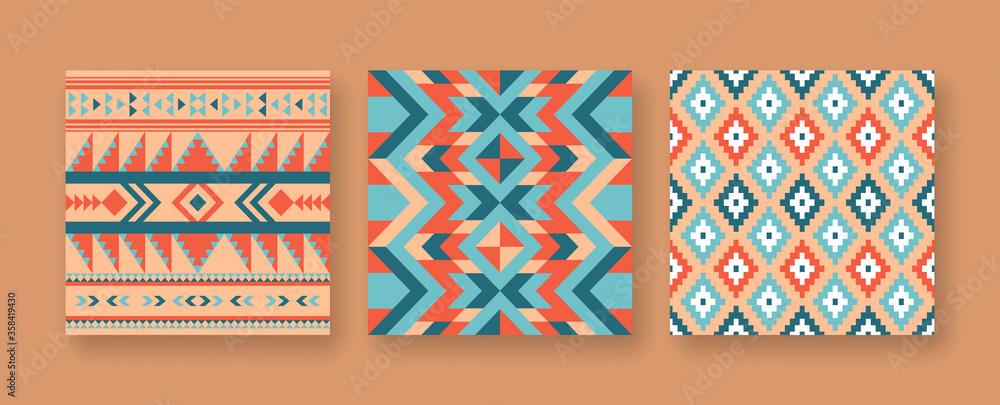 Fototapeta Abstract native american seamless pattern set