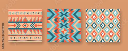 Fotografie, Obraz Abstract native american seamless pattern set