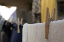 Clothespin On Clothesline In T...