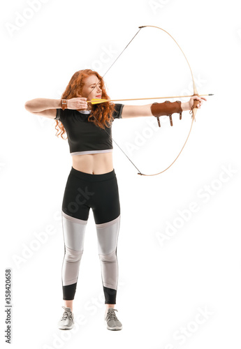 Beautiful female archer with bow on white background Wallpaper Mural