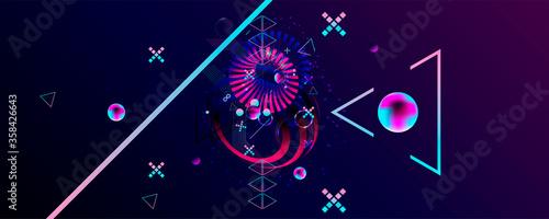 Photo Dark retro futuristic art neon abstraction background cosmos new art 3d starry s