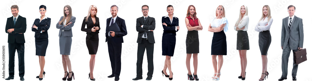 Fototapeta group of successful business people standing in a row.