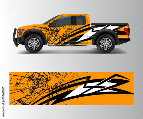 Fototapeta offroad vehicle wrap design vector. Pickup truck decal wrap design vector. obraz