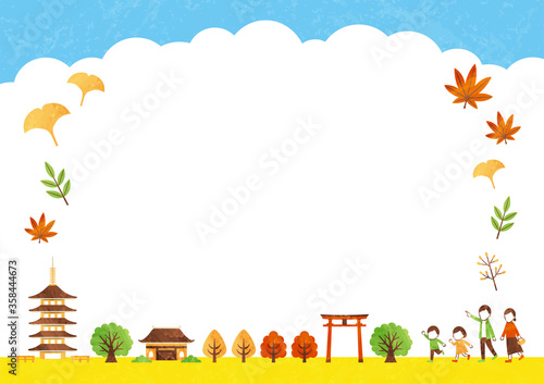 frame of temple in autumn Wallpaper Mural
