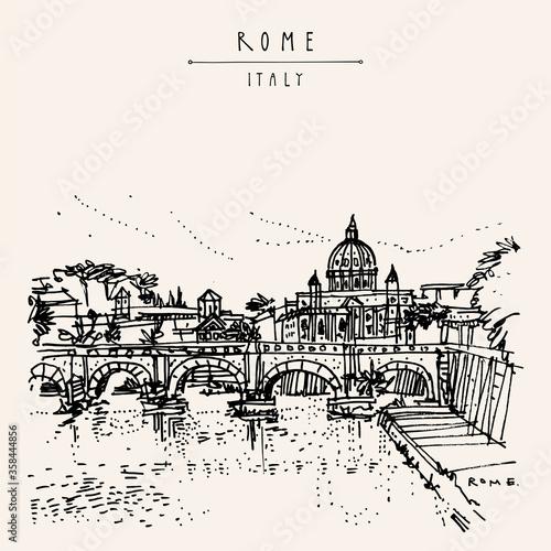 Rome, Italy, Europe. Tiber River, St. Angelo Bridge (Aelian Bridge, Pons Aelius, Bridge of Hadrian) and St. Peter's Basilica sketch. Vintage hand drawn travel postcard. EPS10 vector illustration