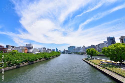 Fototapeta 大阪市の中之島公園と大川