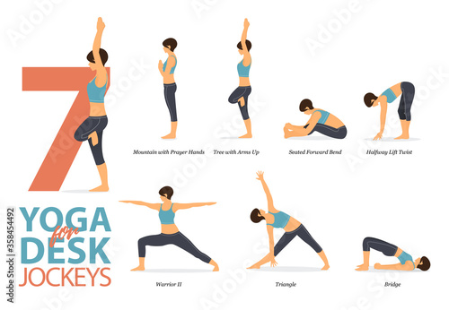 7 Yoga poses for workout in concept of desk jockeys Canvas Print