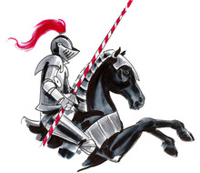 Medieval Knight On A Black Hor...