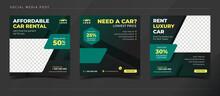 Affordable Car Rental Banner For Social Media Post Template