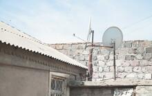 Satellite Dish Antenna Mounted...