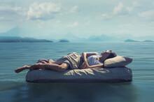 Sleeping Woman Lies On Mattres...