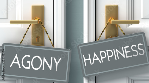 Photo happiness or agony as a choice in life - pictured as words agony, happiness on d