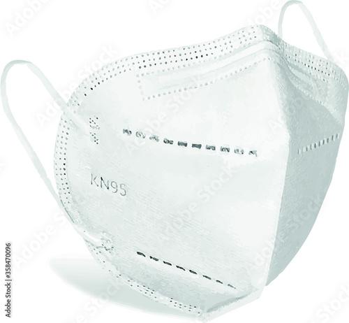 Photo protective mask KN95 isolated on white background