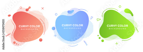 Modern liquid abstract element graphic gradient flat style design fluid vector colorful illustration set banner simple shape template for logo, presentation, flyer, isolated on white background Canvas Print
