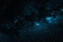 Greenish Blue Dramatic Galaxy Night Panorama From The Moon Universe Space On Night Sky