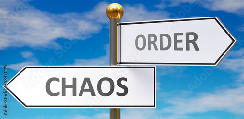 Chaos and order as different choices in life - pictured as words Chaos, order on road signs pointing at opposite ways to show that these are alternative options Wallpaper Mural