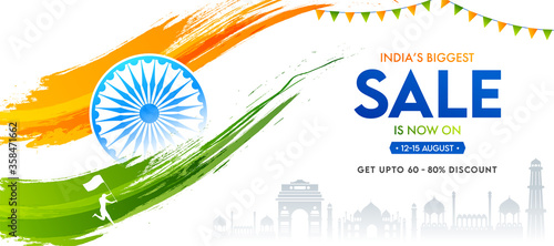 Fotografiet India's Biggest Sale Banner Design with 60-80% Discount Offer, Famous Monuments, Ashoka Wheel, Saffron and Green Brush Stroke on White Background