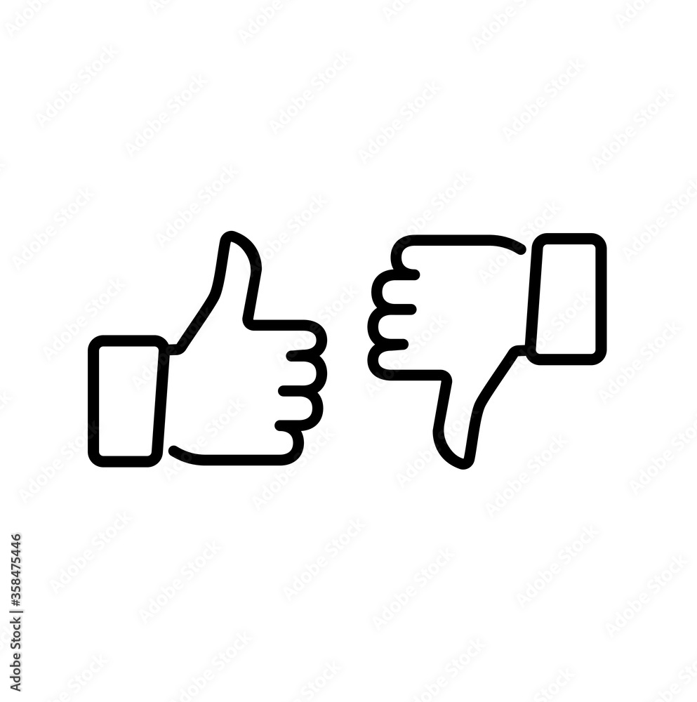 Fototapeta Thumps up and down, vector icon.