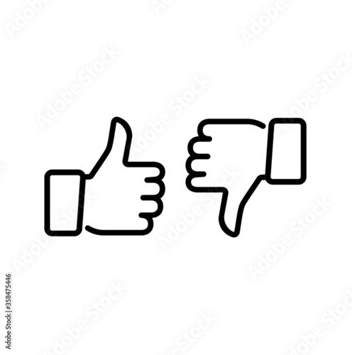 Obraz Thumps up and down, vector icon. - fototapety do salonu