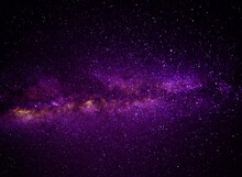 Purple Dramatic Galaxy Night Panorama From The Moon Universe Space On Night Sky
