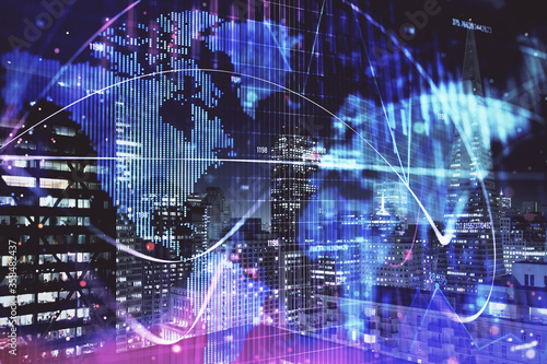 Fotomural Double exposure of business theme hologram drawing and city veiw background