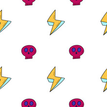 Seamless Pattern. Pink Skull And Yellow Lightning. Suitable For Halloween Decor