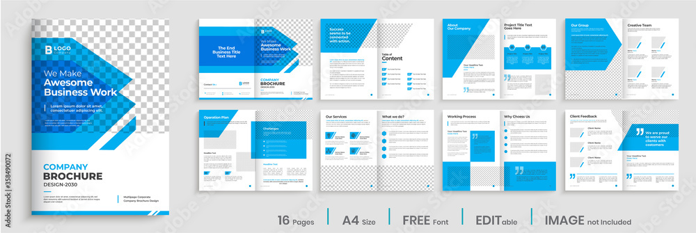 Fototapeta Brochure template design with blue modern shapes, 16 page, corporate, minimal business brochure template design.