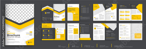 Photographie Corporate multipage brochure template layout design, 16 pages brochure, annual report, orange shape minimal multipage brochure layout