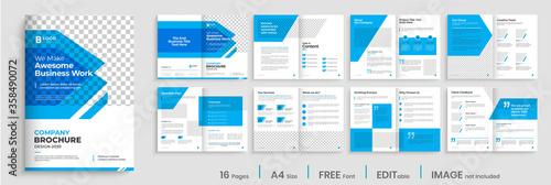 Obraz Brochure template design with blue modern shapes, 16 page, corporate, minimal business brochure template design. - fototapety do salonu