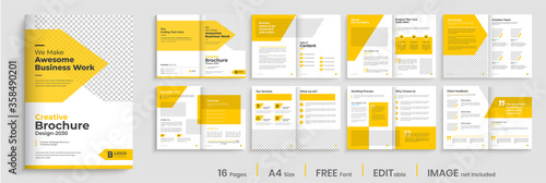 Fotomural Brochure template layout design, minimal business brochure design, 16 pages, ann