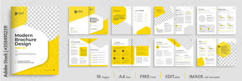 Corporate multipage brochure template layout design, minimalist business profile, 16 pages, annual report, multipage brochure design Canvas-taulu