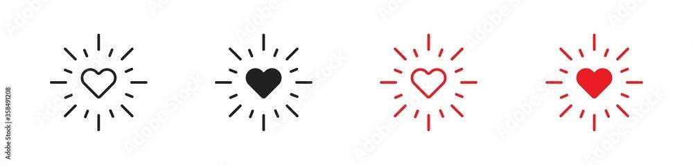 Fototapeta Love heart with rays set flat icon. Minimal concept vector - obraz na płótnie