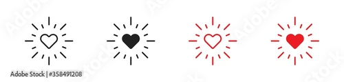 Papel de parede Love heart with rays set flat icon. Minimal concept vector