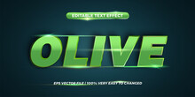 Text Effect In 3d Olive Words Text Effect Theme Editable Metal Gradient Green Color Concept